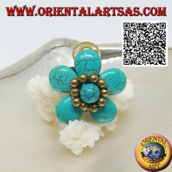 Adjustable turquoise paste flower ring with balls and spiral in gold plated brass (macramé)