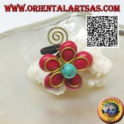 Bague fleur ajustable en pâte de corail et centre turquoise avec fleur et spirale en laiton doré enduit (macramé)