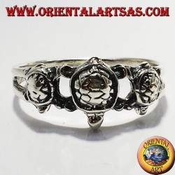 three turtle silver ring