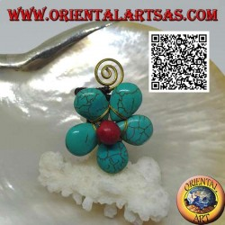 Adjustable flower-shaped ring in turquoise paste and coral center with spiral in gold-plated brass (macramé)