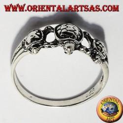 Anello tre tartaruga in argento