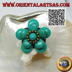 Anello regolabile in cuoio a doppio fiore sovrapposto in pasta di turchese e palline in ottone dorato