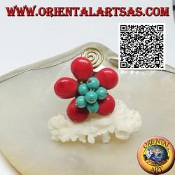 Bague fleur ajustable en pâte de corail, perles turquoises et spirale en laiton doré (macramé)