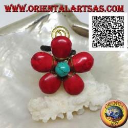 Anello regolabile a fiore in pasta di corallo e centro trchese con spirale in ottone dorato rivestito (macramè)
