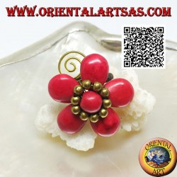 Adjustable coral paste flower ring with balls and spiral in gold plated brass (macrame)