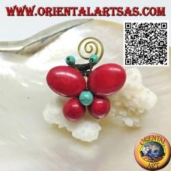 Bague papillon ajustable en pâte de corail et centre turquoise et spirale en laiton plaqué or (macramé)