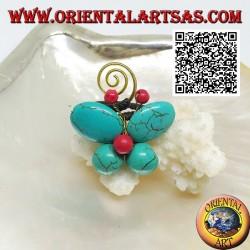 Anello regolabile a farfalla di pasta di turchese e centro corallo e spirale in ottone dorato rivestito (macramè)