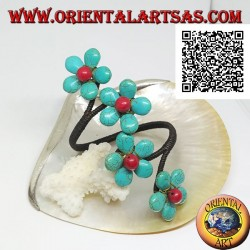 Adjustable rigid bracelet with 4 turquoise paste flowers and coral center in gold-plated brass (macramé)