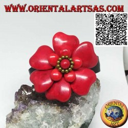 Adjustable rigid leather bracelet with double overlaid coral paste flower and golden brass balls