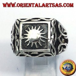 silver ring with sun