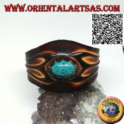 Adjustable rigid bracelet with central oval turquoise and two-color leather processing (side fork)