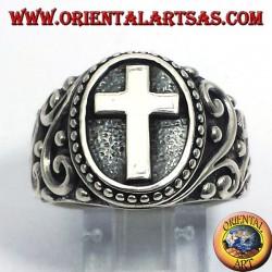 Крест кольцо в серебре