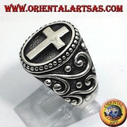 anillo de cruz en plata