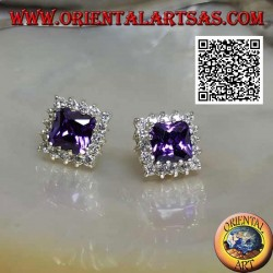 Silver lobe earrings with synthetic amethyst surrounded by white zircons