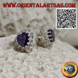 Silver lobe earrings with synthetic amethyst in the heart surrounded by white zircons