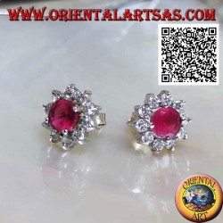 Silver lobe earrings with natural round ruby surrounded by white zircons