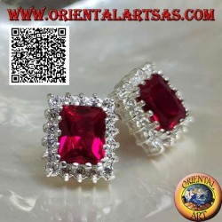 Silver lobe earrings with rectangular synthetic ruby surrounded by white zircons