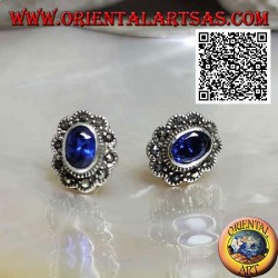 Silver lobe earrings with oval synthetic sapphire with marcasite cloud frame