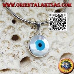 Ciondolo in argento, occhio greco bifacciale azzurro su madreperla tonda