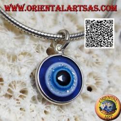 Ciondolo in argento, l'occhio di Allah (amuleto contro il malocchio e la sfortuna)