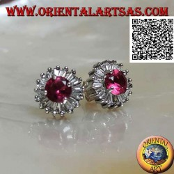 Silver lobe earrings with round synthetic ruby set surrounded by white zircons with baguette cuts