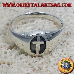 Anello sigillo croce in argento