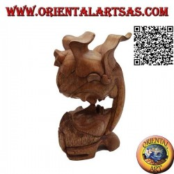 25 cm sculpture of the kiss between two oriental lovers in suar wood