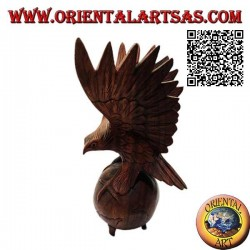 Golden eagle sculpture with spread wings standing on the world in 33 cm suar wood