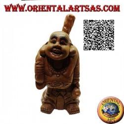 Sculpture du moine bouddhiste Budai ou Hotei (Bouddha d'abondance et protecteur des faibles) en bois de teck de 32 cm