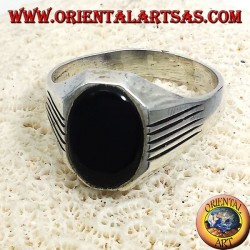 ring with silver lines, Onyx Oval