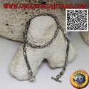 925 ‰ silver necklace with paired borobudur (Byzantine link), 42 cm x 3 mm