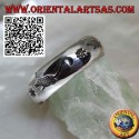 Silver ring with engraved rats alternating with stars