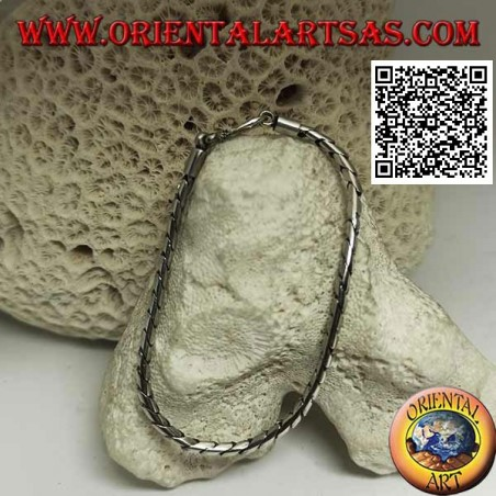 Soft silver round hinged bracelet with smooth 19.5cm x 3mm hook