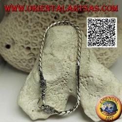 Bracciale morbido in argento tondo a snodo con gancio a serpentina da 21,5 cm x 3 mm