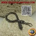 "Silver ""Borobudur"" link bracelet (Byzantine link) with serpentine hook 15.5 cm x 4 mm"
