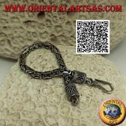 """Bracciale in argento a maglia """"Borobudur"""" (maglia bizantina) con gancio a serpentina da 15,5 cm x 4 mm"""