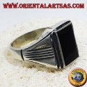 silver ring with onyx rectangular