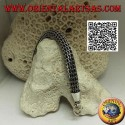 Thickly woven tubular silver bracelet with smooth 21 cm x 10 mm hook