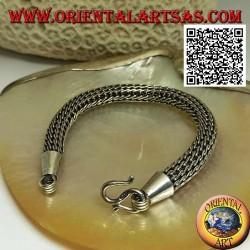 Плетеный серебряный браслет трубчатой формы с гладким крючком 21 см x 10 мм