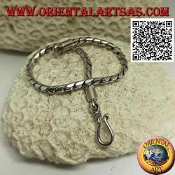 Bracciale morbido in argento tondo a snodo con gancio liscio da 20 cm x 3 mm