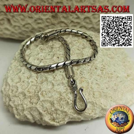 Soft silver round jointed bracelet with smooth 20 cm x 3 mm hook