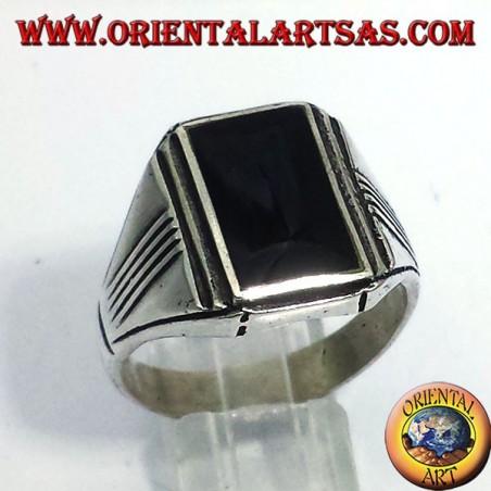 Silberring mit Onyx rechteckigen