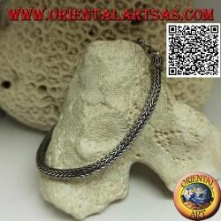Bracciale in argento a maglia snake indonesiano con gancio a serpentina da 22,5 cm x 4 mm