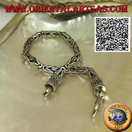 "Silver ""Borobudur"" link bracelet (Byzantine link) with 18.5 cm x 4 mm serpentine hook"