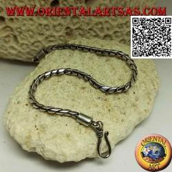 Bracciale morbido in argento tondo a snodo con gancio liscio da 20,5 cm x 3 mm