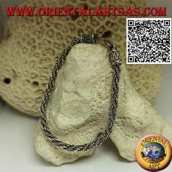 Bracciale in argento snake indonesiano attorcigliato con gancio a serpentina da 21 cm x 4 mm