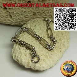 Bracelet chaîne en argent avec anneaux ovales reliés par 18 cm