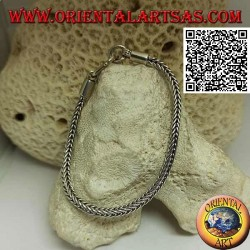 Square section Indonesian snake silver bracelet with 19.5cm x 3.5mm smooth hook
