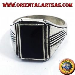 anello in argento con onice rettangolare