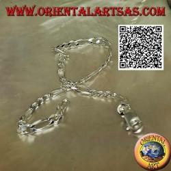 Bracciale in argento piatto a catena diamantata ad anelli tondi e ovali da 19,5 cm x 4 x 1 mm